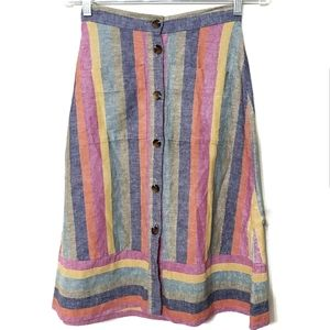 Madewell Button Down Rainbow Stripe Midi Skirt